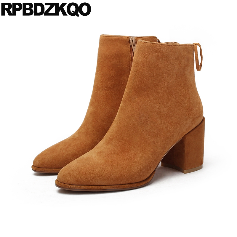 2017 Boots Genuine Leather Brown Ankle Fall Short Suede High Quality Designer Shoes Women Luxury Chunky Thick Autumn Pointed Toe women s genuine suede leather hemp wedge platform slip on autumn ankle boots brand designer leisure high heeled shoes for women