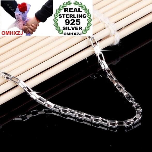 OMHXZJ Wholesale Fashion simple Woman man 18 & 20 inch 2mm Platinum 925 Sterling Silver Box Short Chains Necklaces Couples NK15