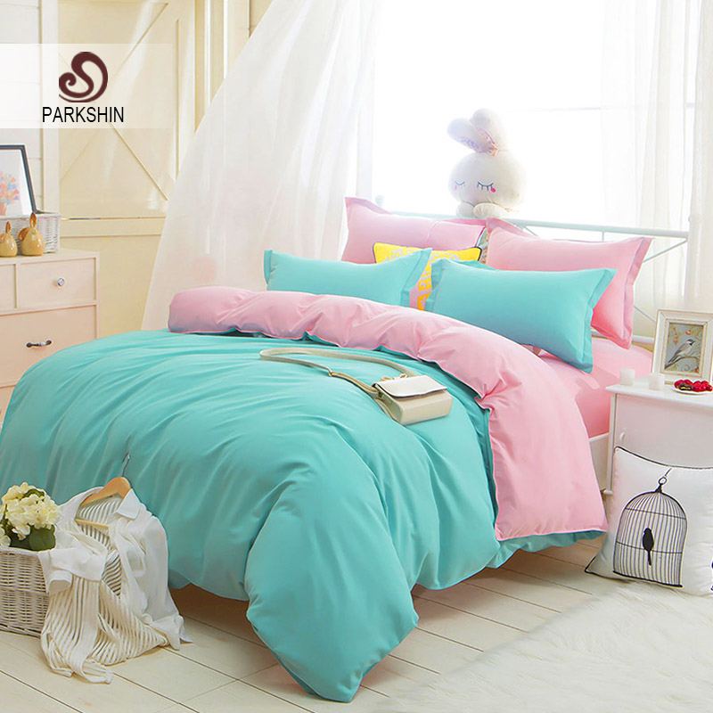 Parkshin Green And Pink Solid Color Bedding Set Comfortable Plain Double Duvet Cover Set Soft Polyester Flat Sheet Bedclothes