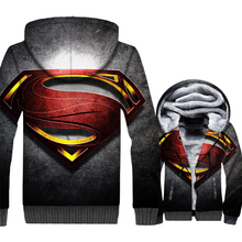 thick zipper turn-down collar brand tracksuits new arrival 3D printed hooded hoodies Superman Super hero jackets coats men 2019