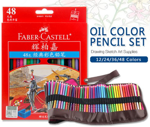 Faber Castell Colored Brand Lapis Artist Painting Oil Color Pencil Set For Drawing Sketch Art Supplies with bag or no bag faber castell fibre tip watercolor pen connector colored painting sketch premium art supplies for kids pack of 10 20 30 40 80