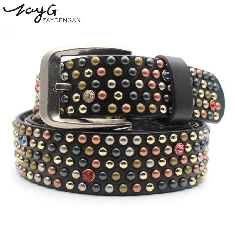 ZAYG Fashion High Quality Hip hop Casual Rivet Belt Color Small Mush Room Rivet Drill Cowhide Male and Female Gothic Jeans Belt