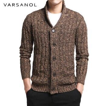 Varsnaol Новый брендовый свитер мужской v-образный вырез однотонный Slim Fit вязание мужские s свитера кардиган мужской 2018 осень модные повседневны...
