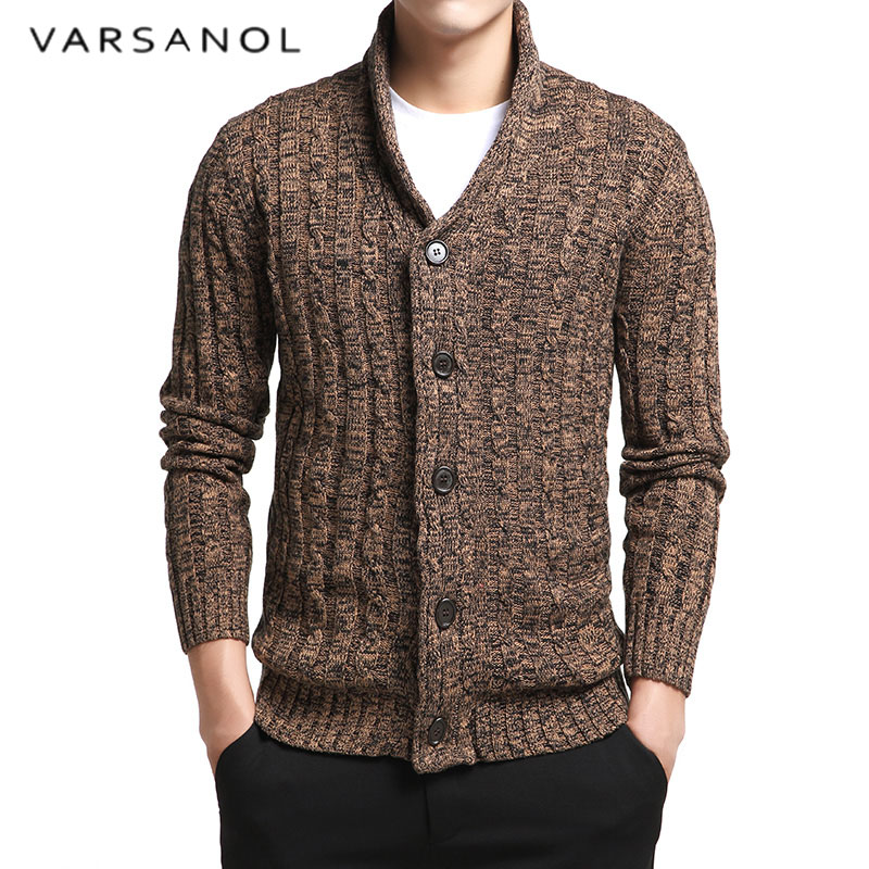 RIDDLED WITH STYLE Mens Full Sleeves V Neck Knitted 7G Button Sweater Adults Sports Wear Cardigan