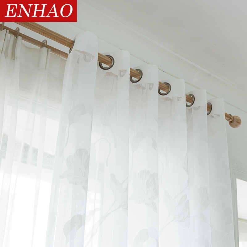 ENHAO Moderna Tende di Tulle per Soggiorno Cucina Geometrica Sheer Tende per la Camera Da Letto Del Voile Tende per Finestra Tulle Porta