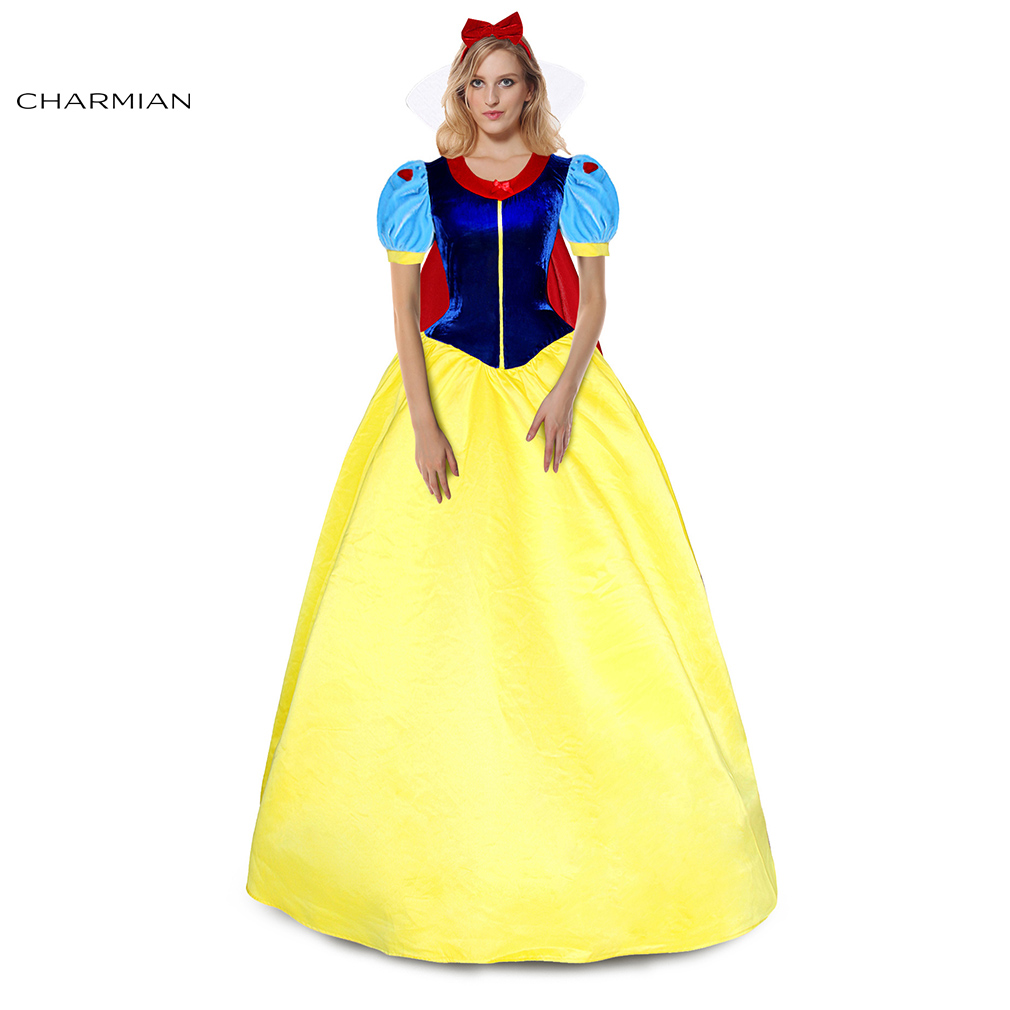 Charmian New Snow White Princess Halloween Costume for Women Beauty Ball Gown Cosplay Costume Halloween Carnival Party Dress