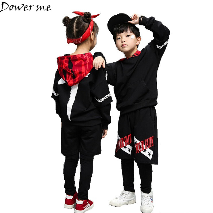 New Childrens Sports Suit Boy Hooded Tracksuit Kids Hip Hop Dancewear Girls Spring Clothes Cool Fashion Camouflage set