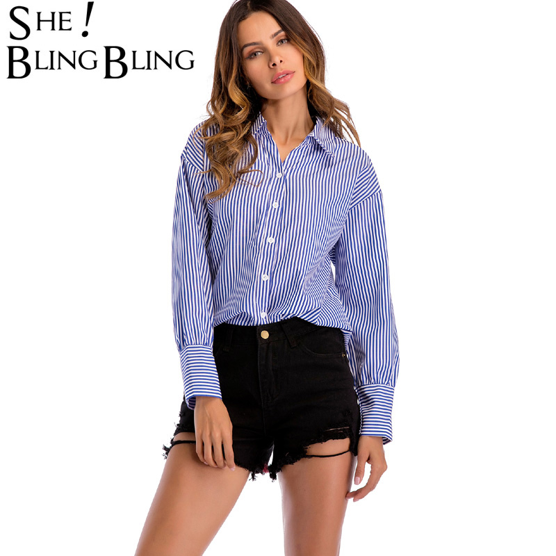 SheBlingBling Drop Shoulder Women Shirts Spring Summer Fashion Long Sleeve Striped Shirts Cutout O-Ring Back Shirts