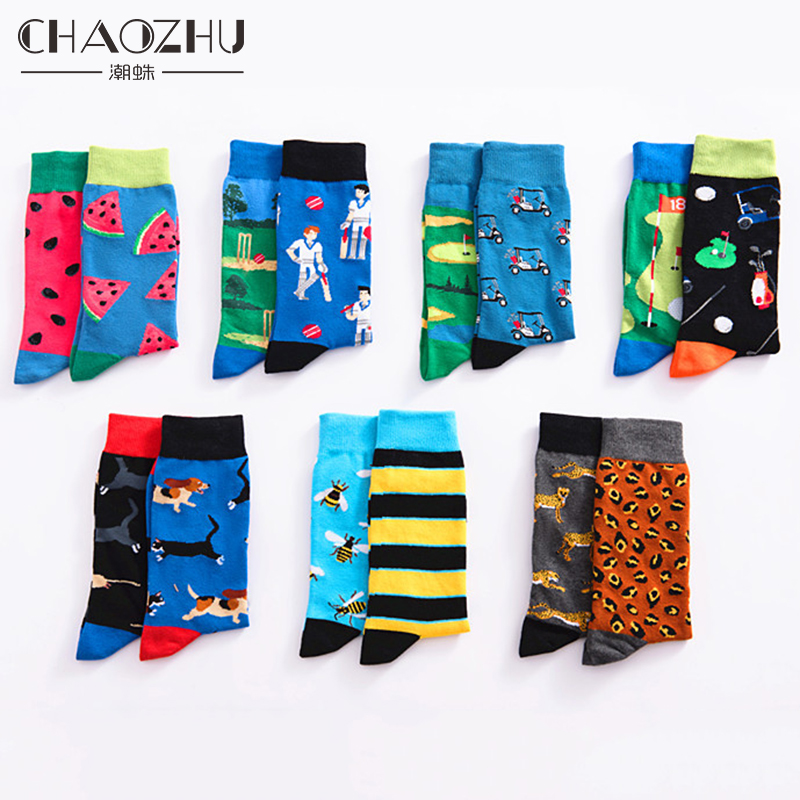 CHAOZHU Australia Cartoon AB Side Odd   Socks   Men Dope Watermelon/Bee/Cat&Mouse Funny Men   Socks