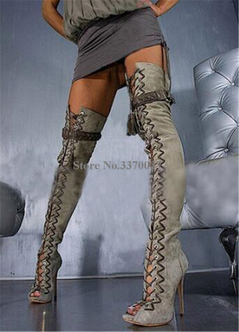 Lace Heel Picture Boots Knee Toe Long Cut Fringed Gladiator Braided Picture Peep Brand Thin Suede Over As Fashion out Leather up High as 78StqB