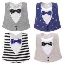 Bib Baby Bibs Baberos Babador Bavoir Slabber Vanntett bomull Stripe utskrift Infant Cloths 0-24 måneder