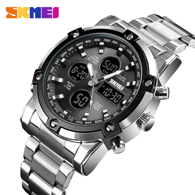 Skmei marca homens relógios digitais, dos homens á prova d água luxo luminoso relógio eletrônico de contagem regressiva
