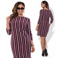 L 5xl Modest Striped Plus Size Dress Women Elegant Classy Evening Celebrity office lady Dresses Short Sleeves Vestido De Festa