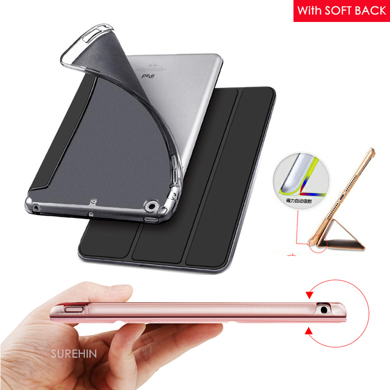 Nice flexible silicone back PU leather case for apple ipad mini 3 2 1 cover slim thin flip soft tpu protective smart case skin floveme 7 9 mini4 transparant slim thin cover for apple ipad mini 4 case soft silicone gel crystal clear back funda cases