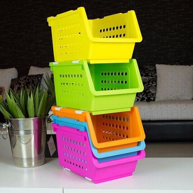 Fruits And Vegetables In The Kitchen Shelf Plastic Storage Baskets Multi Floor Rack Pulley Basket