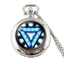 Movie Iron Man Arc Reactor pocket watch Tony Stark 1pcs/lot bronze or chain Pendant Avengers Age of Ultron jewelry dr who