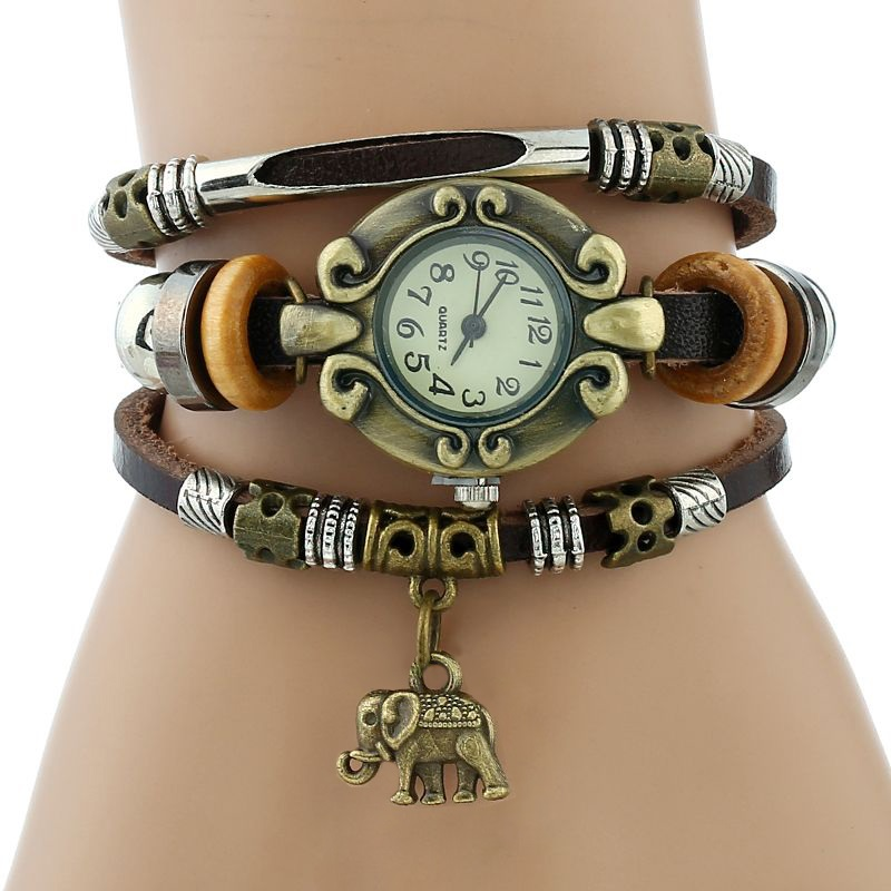 Gnova Vintage Ethnic Genuine Leather Bracelet Women Watch Elephant Charm Fashion Quartz Wristwatch black brown clock para femme
