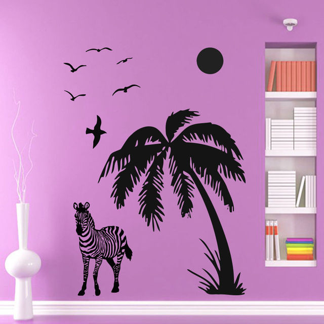 Zebra muurstickers palm tree decal vinyl sticker afrika safari maan ...
