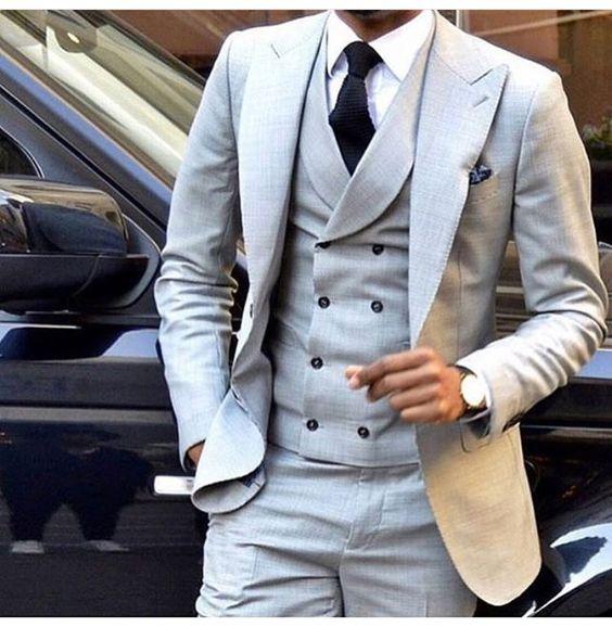 Latest Coat Pant Designs Light Grey Men Suit Double Breasted Slim Fit Skinny 3 Piece Tuxedo Groom Custom Blazer Terno Masculino