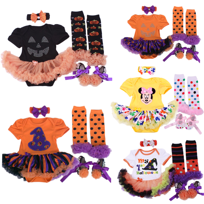 Wholesale Baby Girl Halloween Clothing Sets Pumpkin Romper Dress Jumpersuit Headband Shoes Stockings Infant Bebe 4pcs