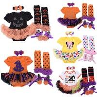 Wholesale Baby Girl Halloween Clothing Sets Pumpkin Romper Dress Jumpersuit Headband Shoes Stockings Infant Bebe 4pcs