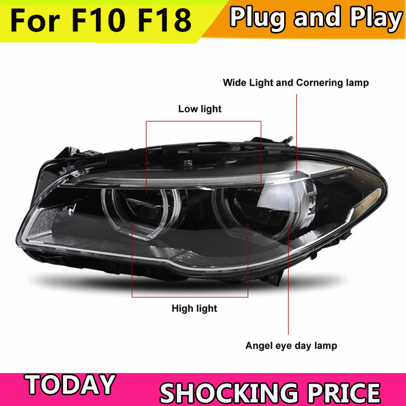 Car Styling for BMW F10 F18 525i 528i 530i 530 528 2010-2016 Headlights LED DRL Lens Double Beam Angel Eyes HID Xenon bi lamp led drl daytime running light daylight waterproof fog head lamp for bmw f10 f18 5 series 525i 530i 535i 2010 2013 car styling