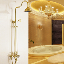European Golden Shower Sets Antique Copper Polished Hot And Cold Shower Faucets Shower Fixing Wall Bathroom