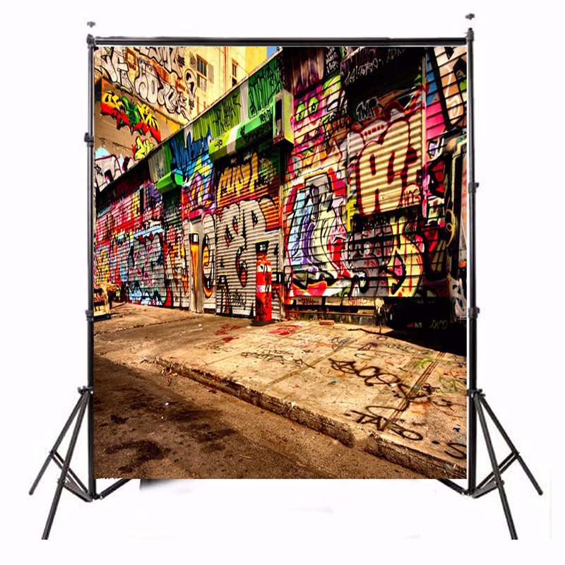 5X7FT Vinyl Graffiti Photography Background Photographic Backdrops For Studio Photo Props cloth 1.5m x 2.1m waterproof