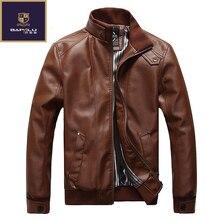 Осень новый товар мужская повседневная Кожаная Куртка jaqueta couro masculina Размер L-5XL овчины пальто куртка мотоцикла