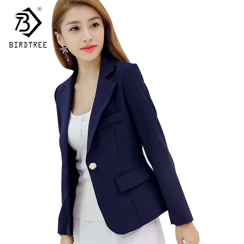 2018 New Fashion   Basic     Jacket   Women Navy Burgundy Suit Ladies Spring One Button Brand Coats Casual Female C81110L