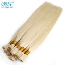 "BHF 100% Human Braiding Hair Bulk Machine Made Remy Straight India Hair Bulk long to 65cm 26"" Natural Blonde Hair(China)"
