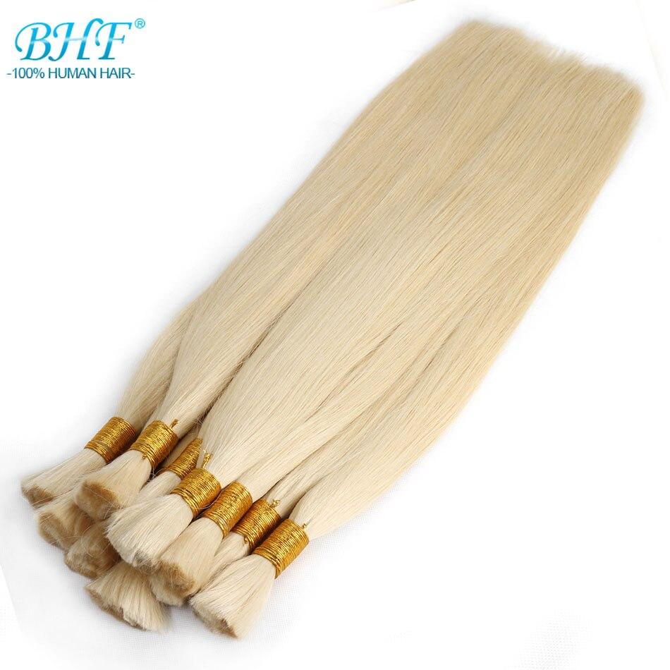 BHF 100% cheveux de tressage humains en vrac fait à la Machine Remy cheveux indiens droits en vrac long à 65 cm 26