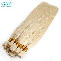 BHF 100% Human Braiding Hair Bulk Machine Made Remy Straight India Hair Bulk long to 65cm 26 Natural Blonde Hair