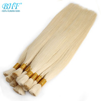 BHF 100% Human Braiding Hair Bulk Machine Made Remy Straight India Hair Bulk long to 65cm 26 Natural Blonde Hair