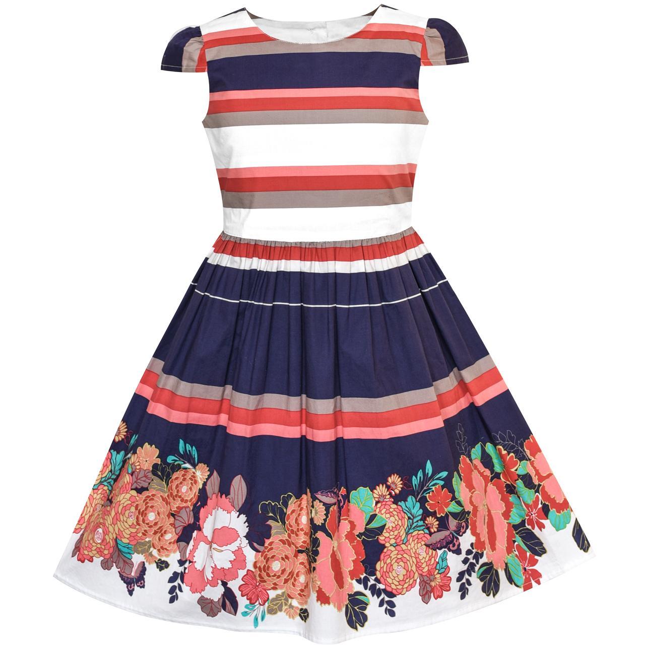 1a127a267cebd Girls Dress Ocean Sailboat Striped Halter Dress Cotton 2018 Summer ...