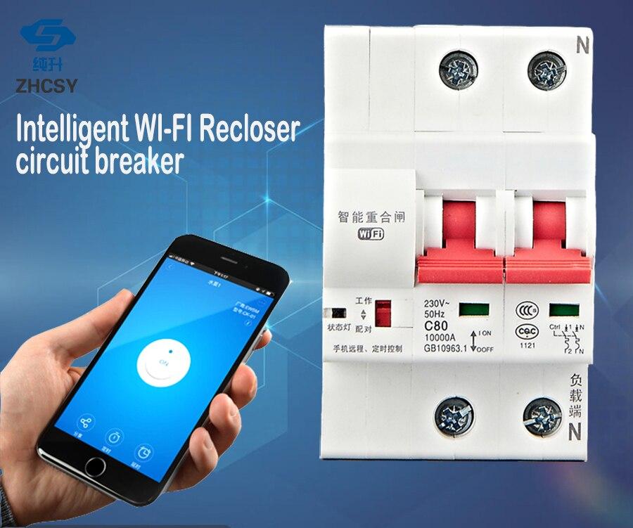 C40 2 p Télécommande Interrupteur Temporisé Retard Ensemble Fonction Automatique Serrure Intelligente Réenclencheur Wifi Circuit Disjoncteur
