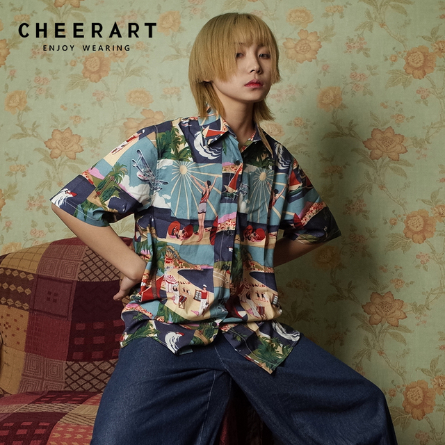 6db46e7e0872b Cheerart Harajuku Streetwear Summer Blouse Shirt Women Top Print Short  Sleeve Blouse Plus Size Loose Shirt Clothing