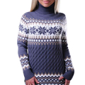 Casual Sexy Floral Printed Knitted Christmas Sweaters Women Turtleneck Slim Knitted Pullovers Long Sleeve Poncho Pull Femme