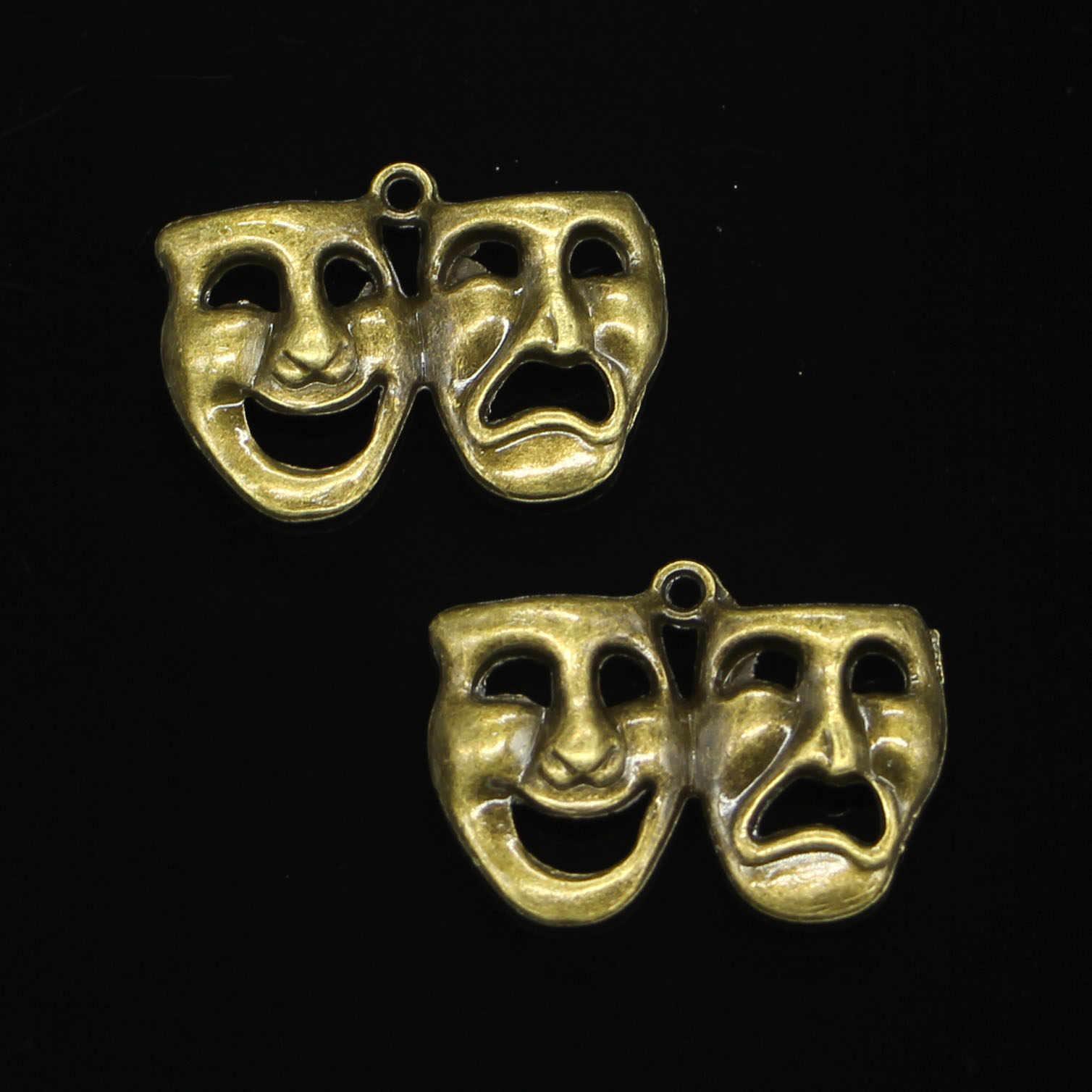 39 шт. античная бронза с покрытием браслет комедия трагедия маски Подвески для самостоятельного изготовления ювелирных изделий Подвески ручной работы 31*23 мм