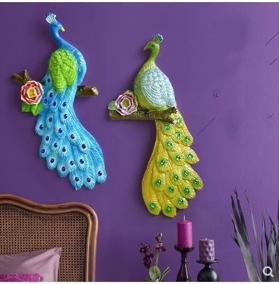 Europäische 3D harz pfau vogel wandbehang TV hintergrund wandbilder - Wohnkultur - Foto 3