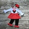 2016 recién llegado de OTOÑO TRAJES de bebé red white dot minnie top negro ruffle pant establece girls boutique con collar y arco