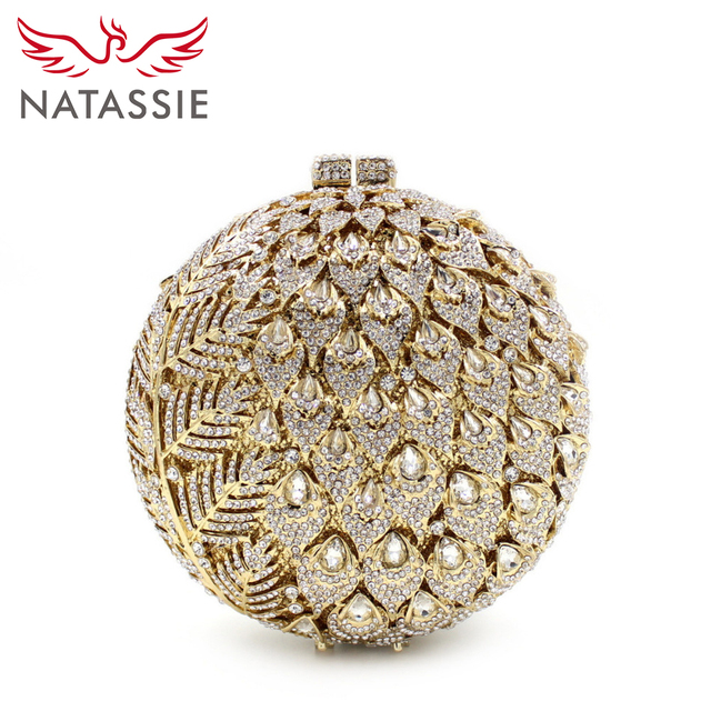NATASSIE Women Luxury Crystal Clutch Bag Pineapple Style Wedding Shoulder Bags Lady Evening Clutch Bag L2065