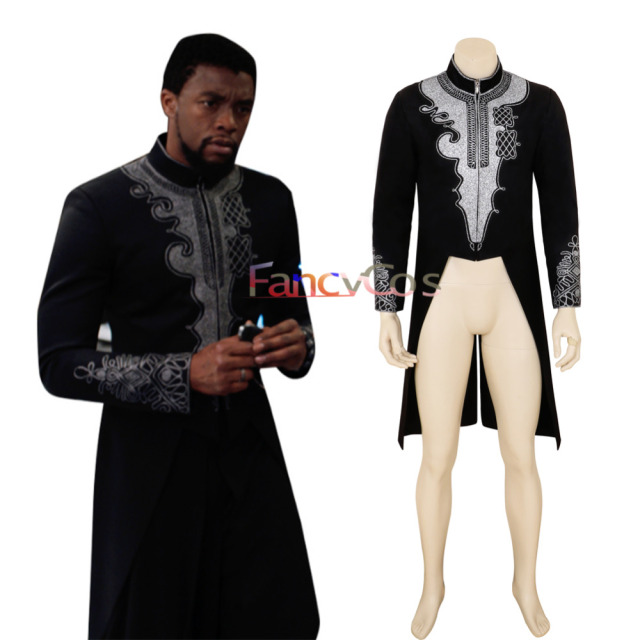 0855a66f7 Halloween Black Panther Costume T Challa DC Cosplay Wakanda King Anime  Movie Tailcoat Men Jacket High Quality Custom Made