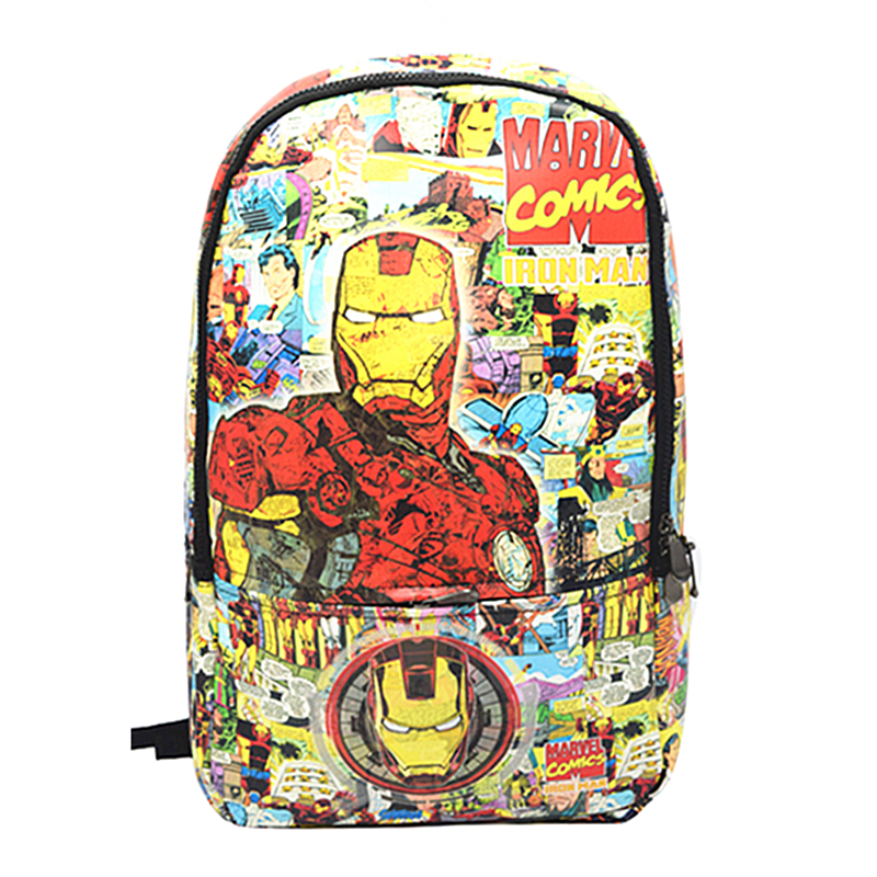 Iron Man Backpack The Avengers Captain America PU Leather Mochila Travel Rucksack Star Wars Student School Bags Free Shipping