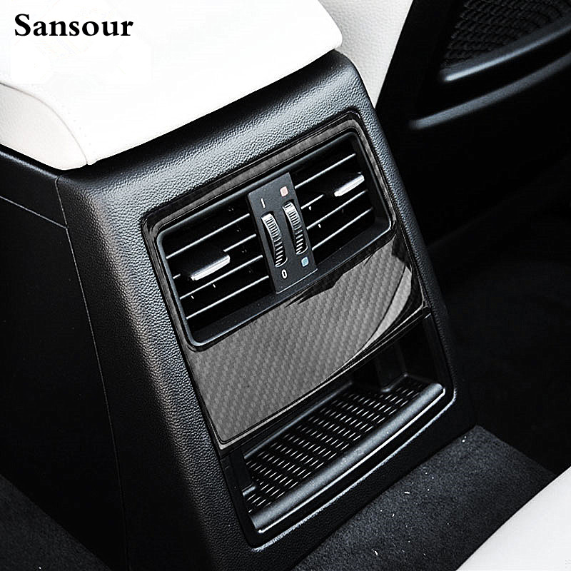Sansour Interior Rear Air Conditioning Vents Decoration Frame Cover Trim For BMW E90 Car styling Carbon Fiber 3D sticker