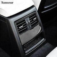 Sansour Nội Thất Không Khí Phía Sau Hòa Nhiệt Độ Vents Trang Trí Khung Bìa Trim Cho BMW E90 Xe styling Sợi Carbon 3D sticker