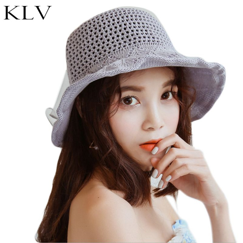 Ladies Handmade Knitted Foldable Straw Floppy Sun Hat Bowknot Ribbon Solid Color Cotton Linen Wide Wavy Brim Beach Bucket Cap