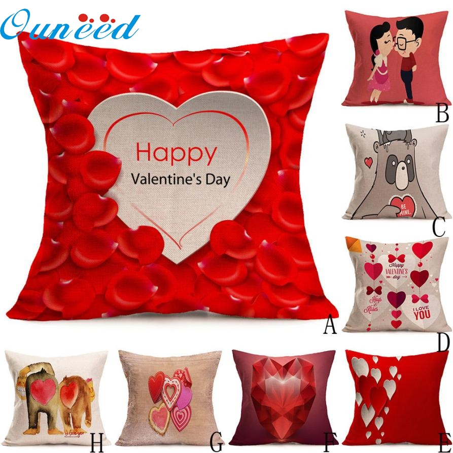 Sweet Love Happy Valentines Day Decoration Cushion Cove Pillow Case for Sofa Bed Home Decor Lovers Gift JAN11