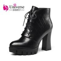 Universe 2017 Autumn Winter Women Ankle Boots High Heels Lace Up Leather Zip Up Platform Short