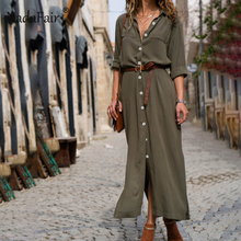 Nadafair Long Sleeve Straight Dress Baggy Turn Down Autumn Winter Shirt Dresses Women Vintage Loose Split Midi Dress Female